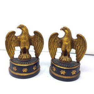 Vintage Borghese ceramic eagle glided bookends.